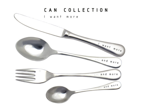 CAN I want more - Besteckset mit Gravur - originelle Geschenke - Totale