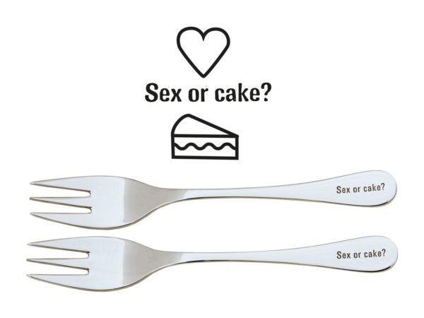 Kuchengabeln mit Gravur - Sex or cake? - Gravur Sprüche auf Besteck