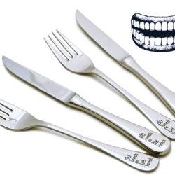 """Steakbesteck mit Gravur """"do lunch or be lunch"""" - online Geschenk Mann"""