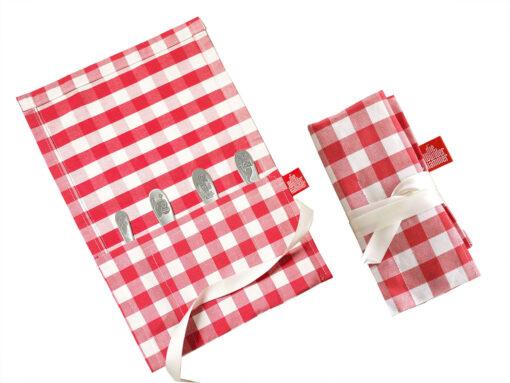 Geschenkverpackung Bestecktasche Kinderbesteck Tierkinder silber, rot weiß