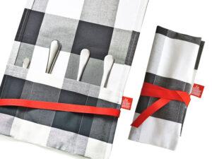 Geschenkverpackung Bestecktasche schwarz weiss