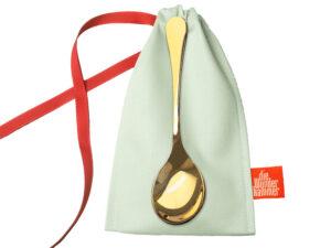 Breilöffel vergoldet - Geschenkbeutel - Babyshower - Geschenk zur Geburt