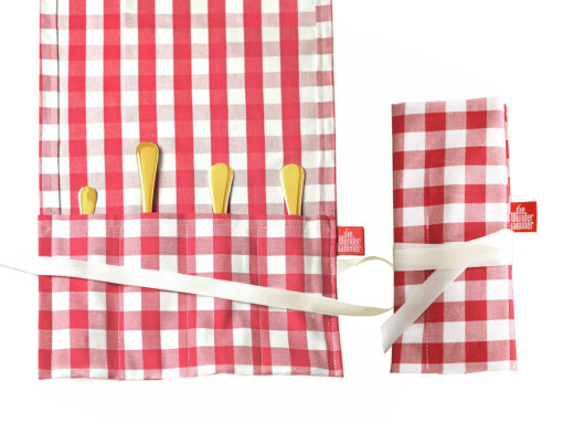 Geschenkverpackung Bestecktasche Kinderbesteck groß, rot weiß mit Goldbesteck