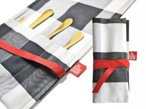 Geschenkverpackung Bestecktasche groß, schwarz-weiss - mit Goldbesteck