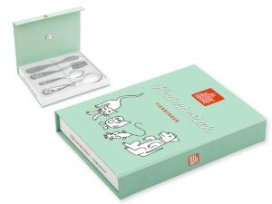 Geschenkverpackung Kinderbesteck Tierkinder - Besteckbox mit Magnetverschluss
