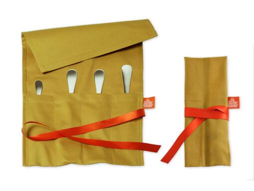 Geschenkverpackung - Bestecktasche goldbeige für Menübesteck - Bsp. blank