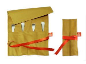Geschenkverpackung - Bestecktasche goldbeige für Steakbesteck