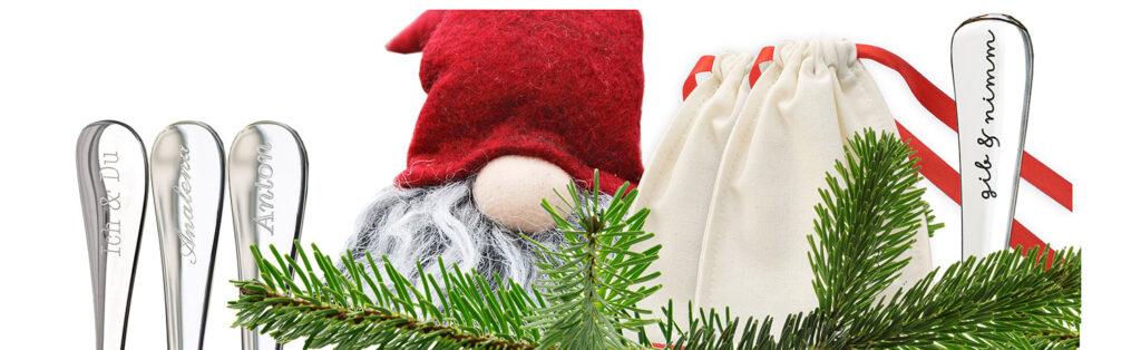 Wichtelgeschenke & Nikolausgeschenke - Wichtel mit graviertem Besteck und Geschenkverpackung